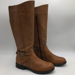 Franco Sarto Leather Cognac Knee High Riding Boots